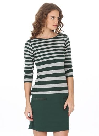 Asymmetry Çizgili Dar Kısa Elbise Yeşil